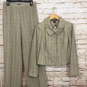 Ellen Tracy pants suit new 6 beige plaid blazer